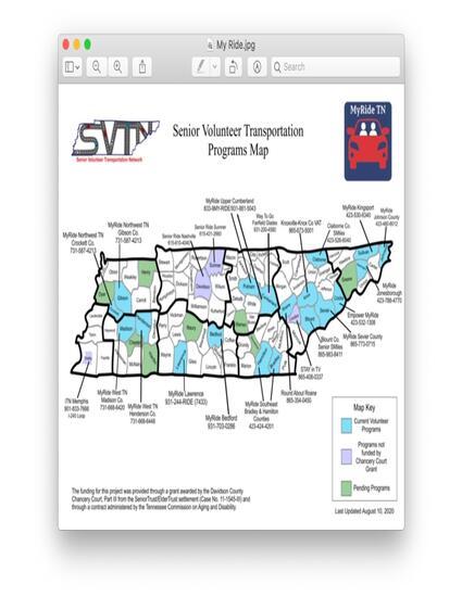 Senior Volunteer Transportation Program Map